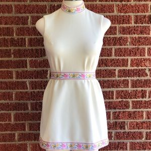 Vintage 1960's Hippie Embroidered Mini Dress